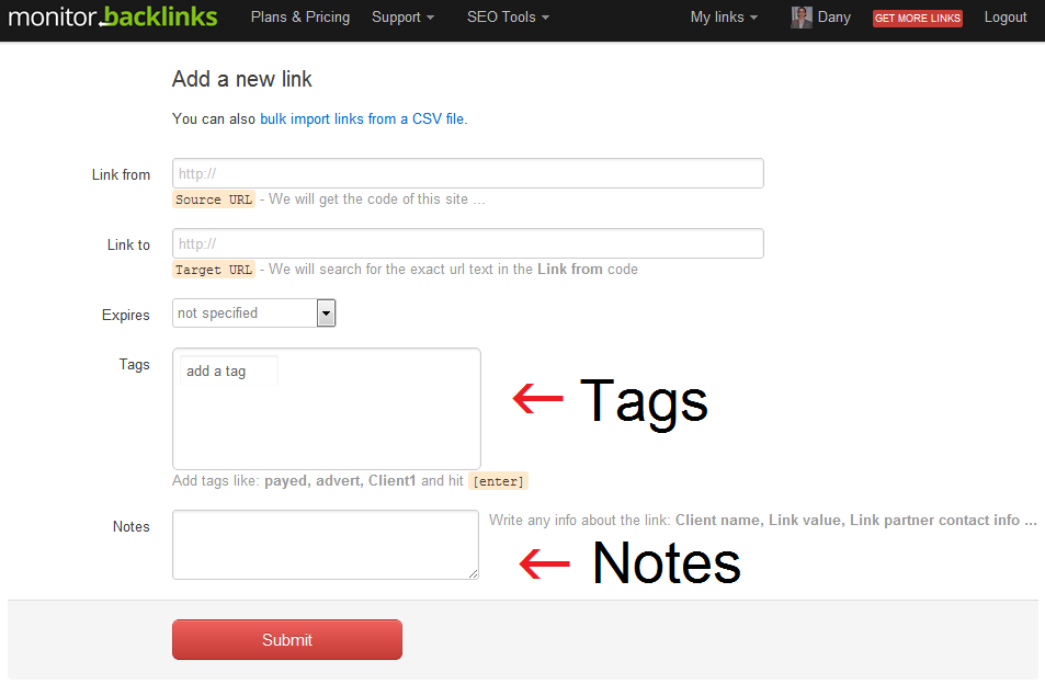 Add tags and notes