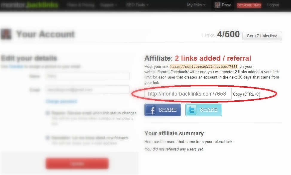 Be an affiliate and get more links to monitor!