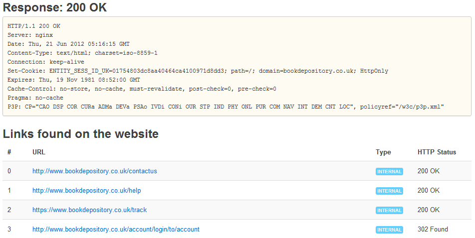 HTTP Status Code Results