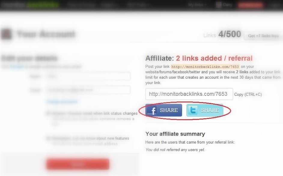 Share Monitor Backlinks Tool