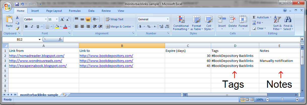 Tags and notes in Excel