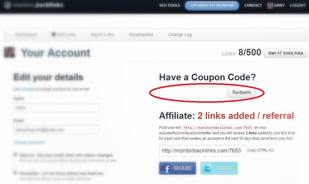 Redeem Coupon