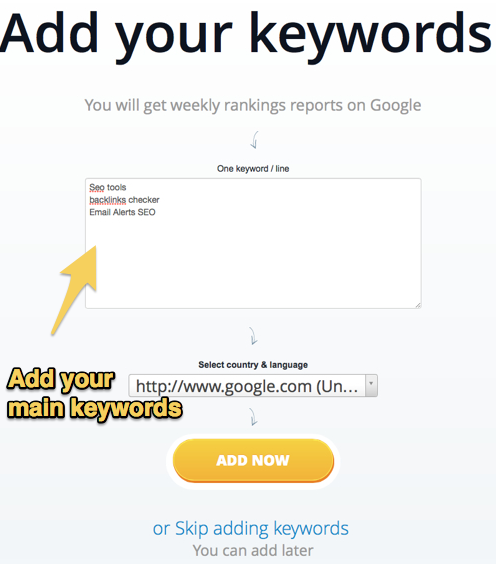Add your keywords for ranking checker