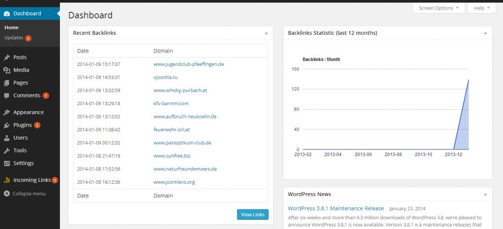 Incoming Links - Admin Widgets