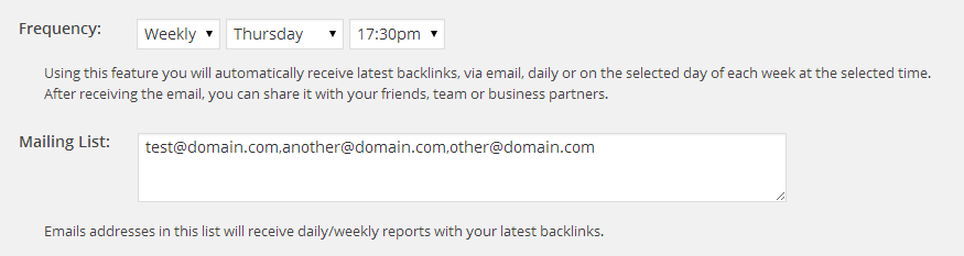 Incoming Links - Mail Settings
