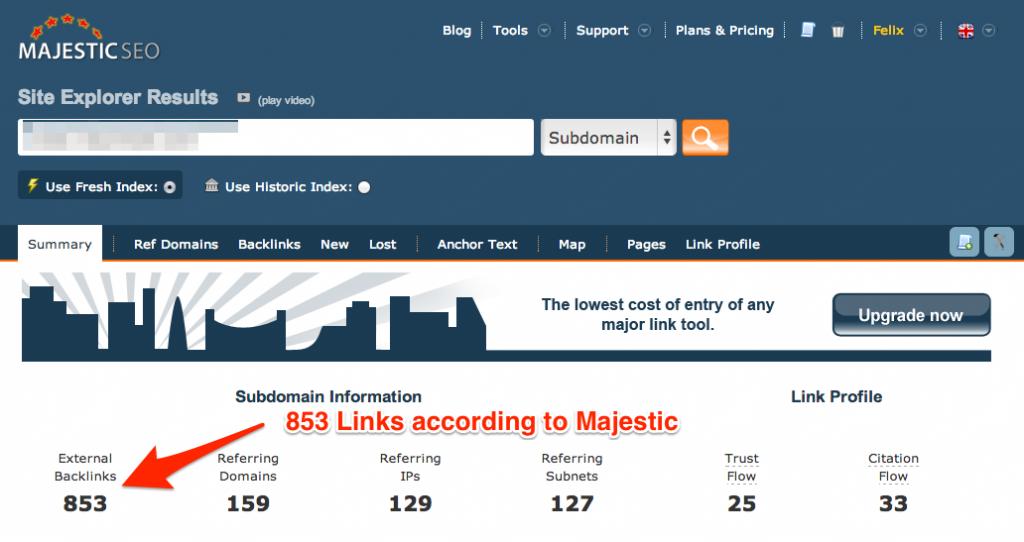 majestic links report