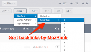Filter backlinks by Moz rank