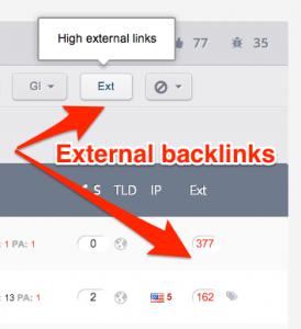 Show high external links count