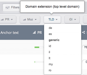 Select only the desired domains TLDs