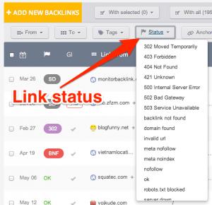 Use link status to show live backlinks
