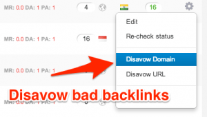 Disavow bad backlinks