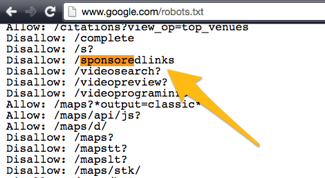 google robots txt