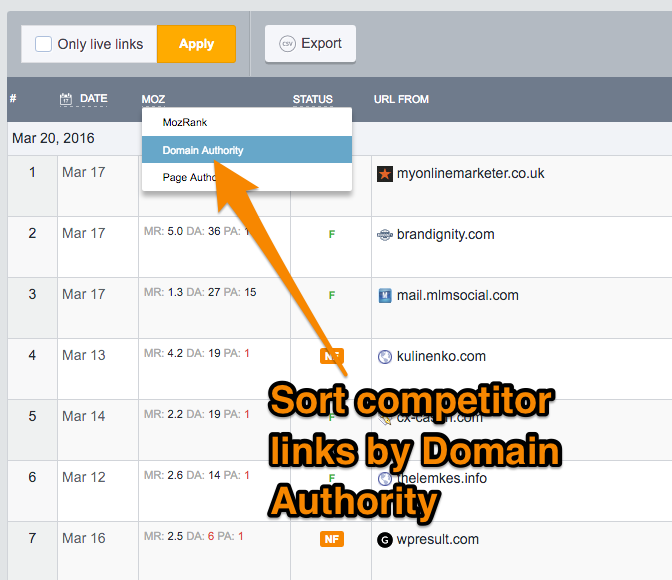 sort competitor backlinks