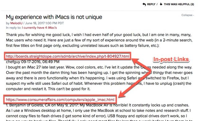 types of bad links - forum links