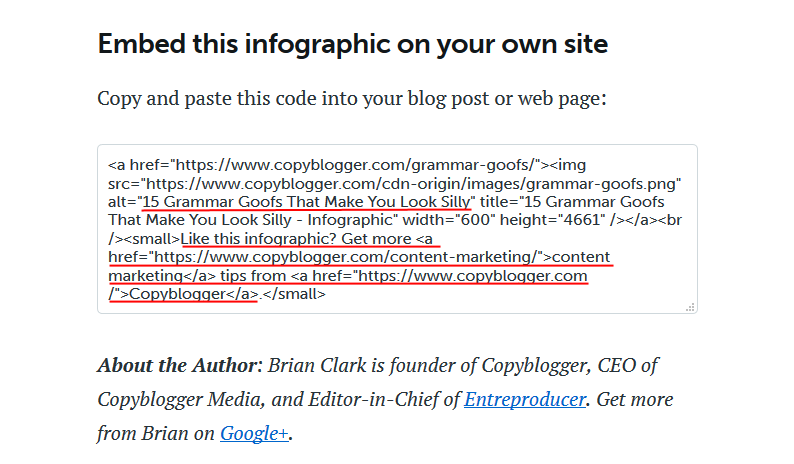Infographics example - HTML backlink snippet