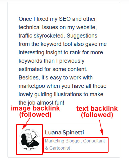 how to build links for SEO - my testimonial on marketgoo's site, highlighting the backlink